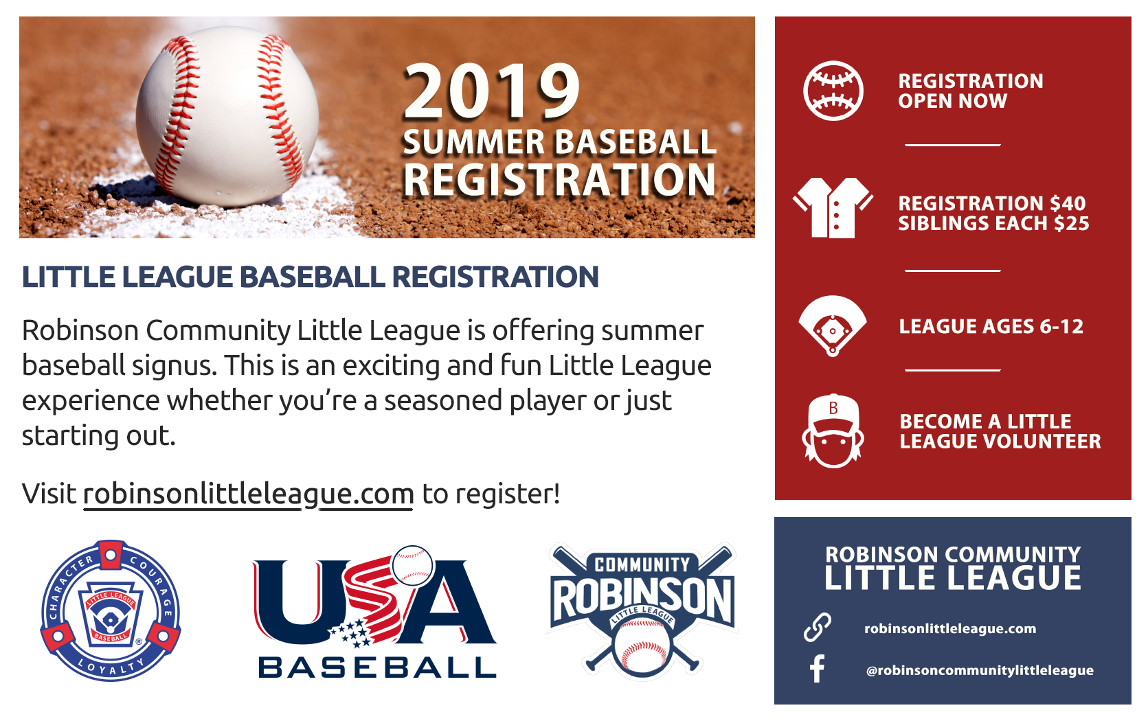 2019 Summer Baseball Registration